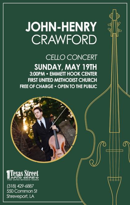 John-Henry Crawford Cello Concert, Emmett Hook Center, Shreveport, LA